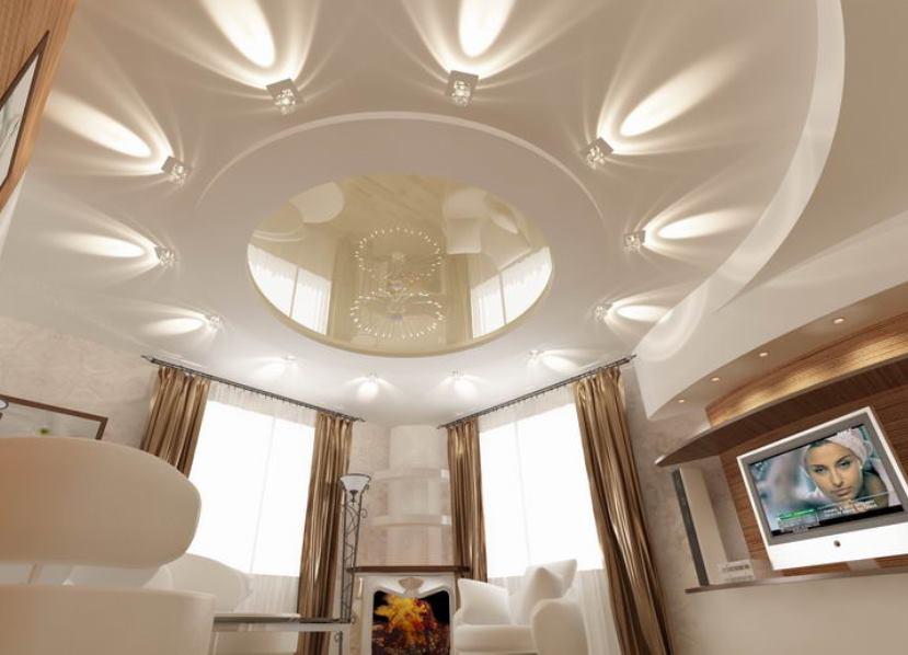 Потолок из гипсокартона позволяет делать необычные конструкции