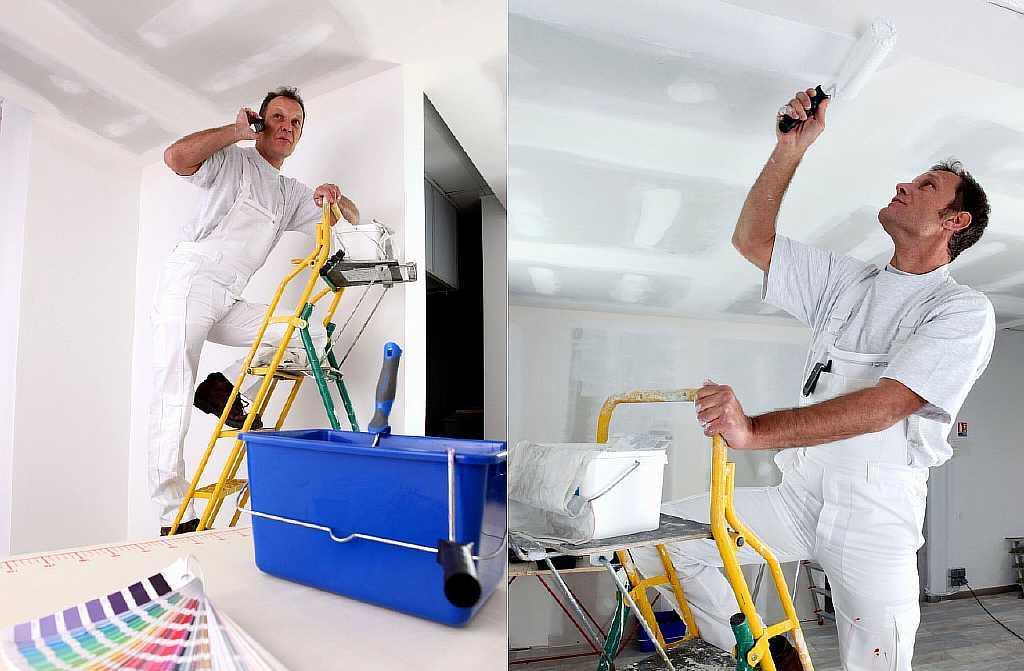 Потолок из гипсокартона просто необходимо красить