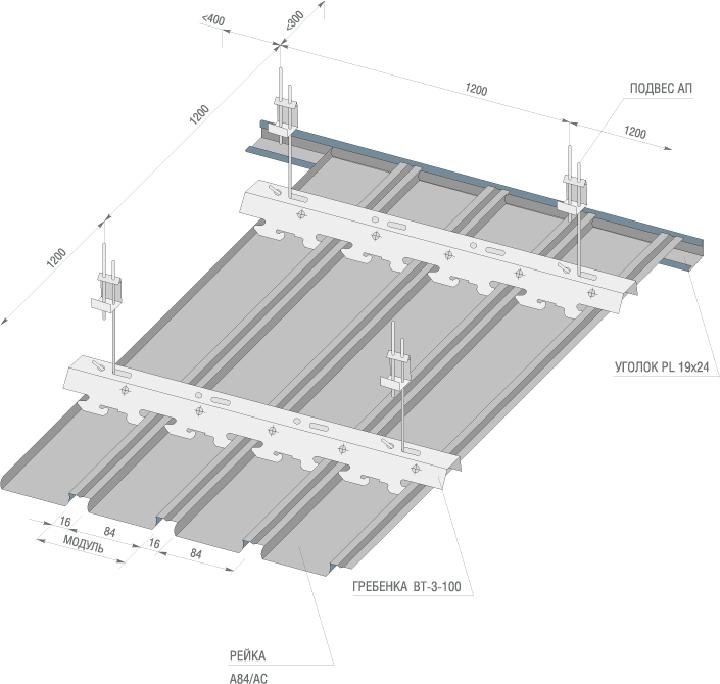 Каркас для реечного перфорированного потолка