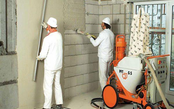 Особенности механизированной штукатурки стен
