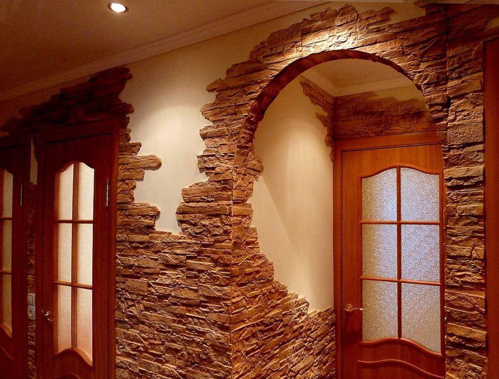 Отделка дверного проема декоративным камнем