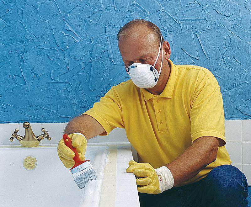 При ремонте ванны используйте респиратор