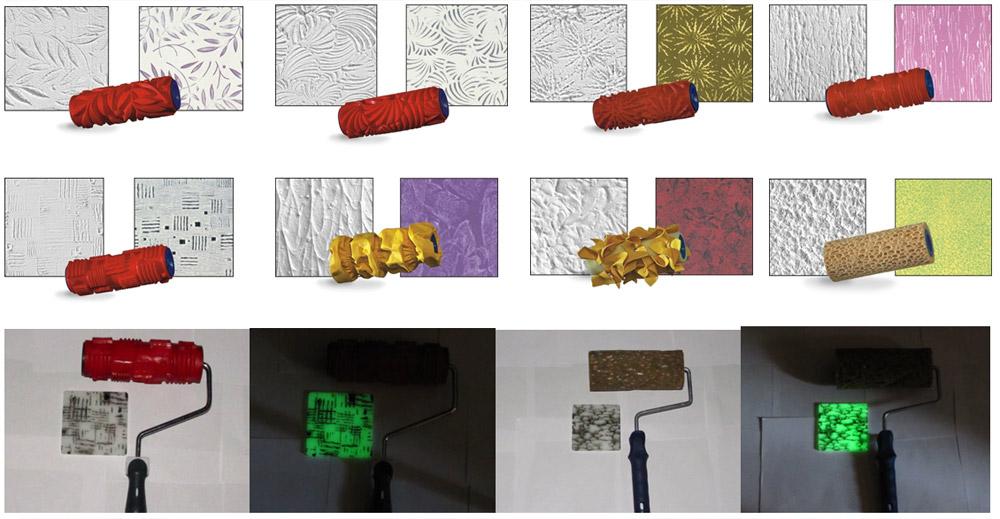 Для создания узора можно воспользоваться специальными валиками или использовать другой подручный материал
