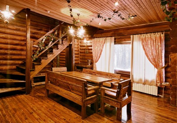 внутренняя отделка дома из бревна