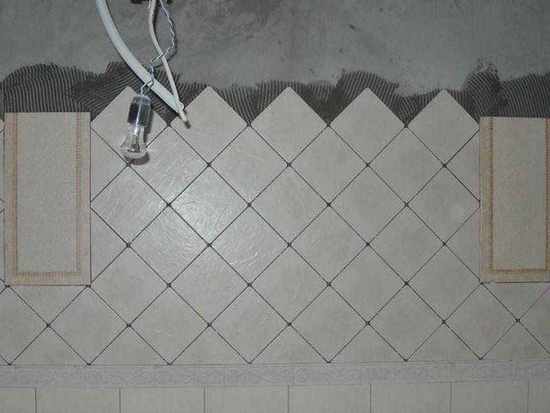 Укладка плитки для ванной По диагонали