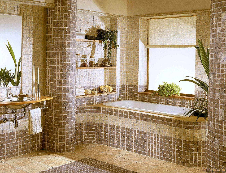 Мозаика гармонично смотрится в ванной комнате