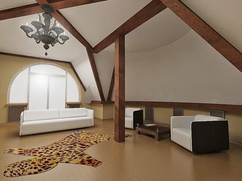 Потолок в мансарде с балками