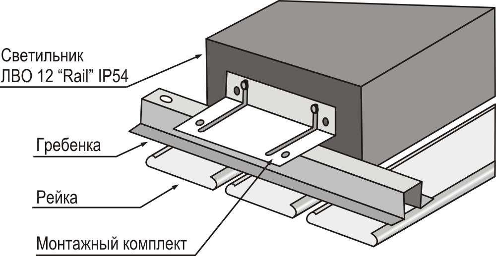 Схема установки светильника в реечный потолок