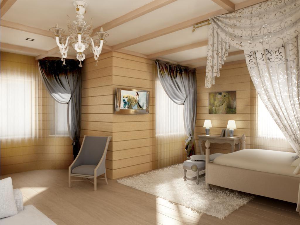 Потолок из гипсокартона смотрится очень органично вместе с деревянной отделкой стен
