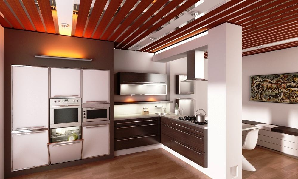 Металлический реечный потолок в интерьере