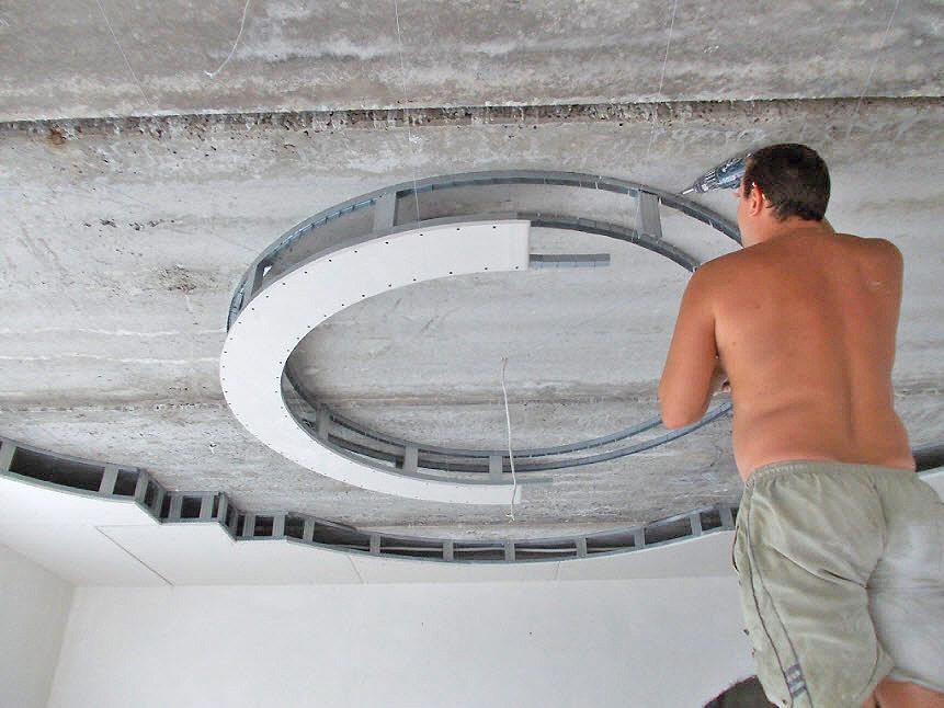 Обшивка потолка листами гипсокартона