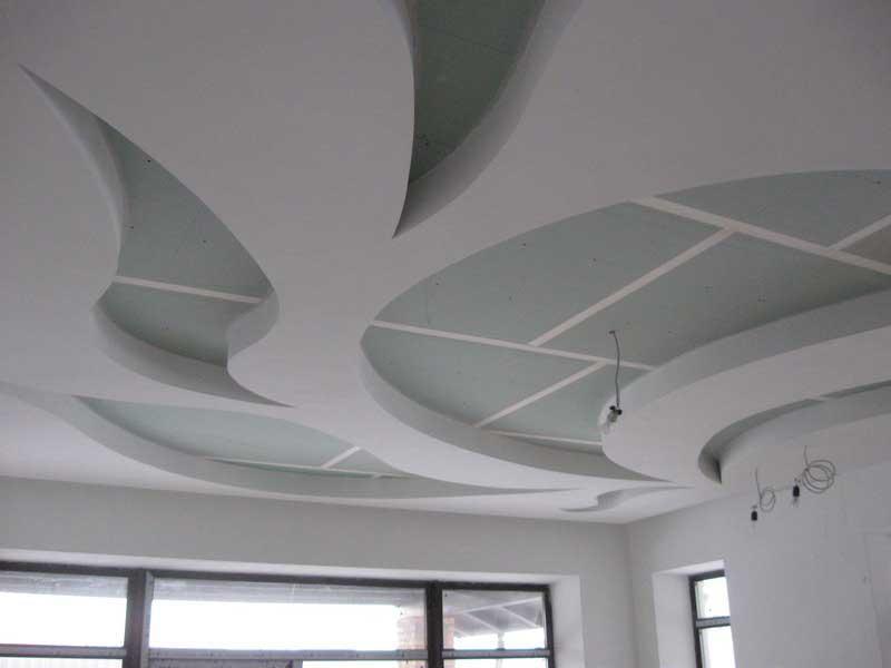 Готовый потолок из гипсокартона без отделки