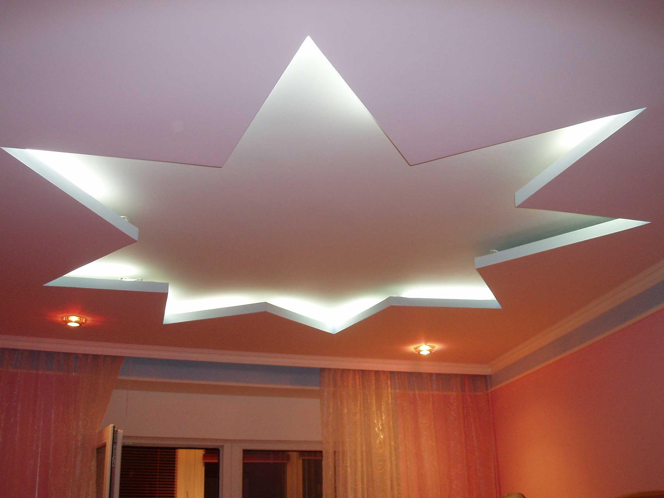 Звезда на потолке из гипсокартона