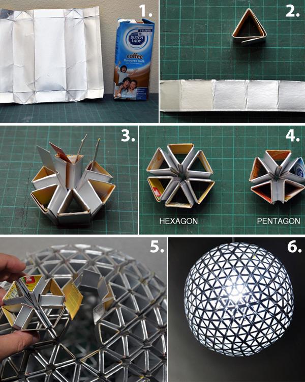 Изготовление светильника из тетрапаков