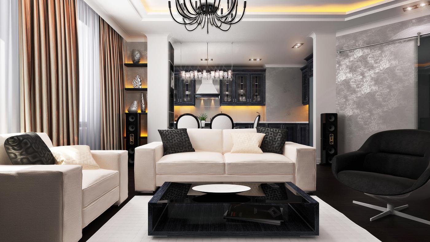 Для стиля модерн важно правильно подобрать светильники
